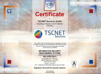 TSCNET, certificate ISO Information Security
